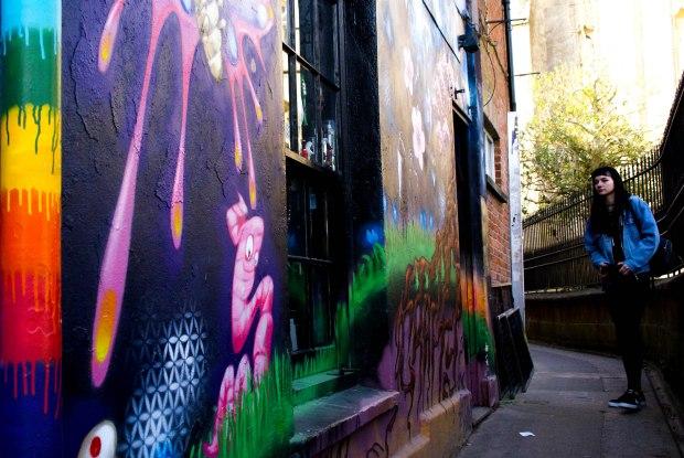 Glastonbury graffiti side street